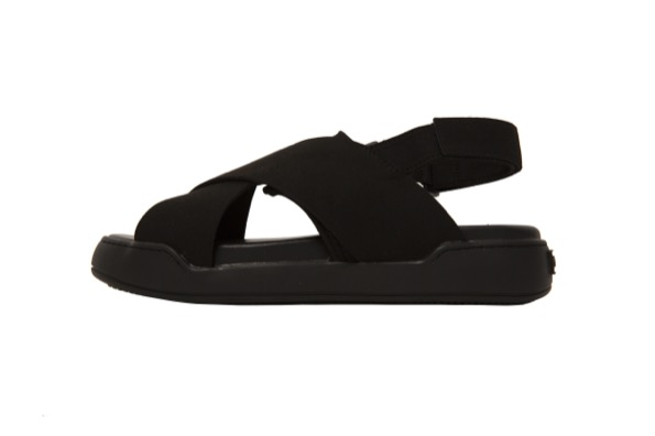 STACK SANDALS - Black Suede